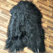 XL ÖKO Island Schaffell Lamm Fell schwarzbraun weiß 110x80 Perchten #3852