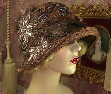 1920'S VINTAGE STYLE BROWN SILVER FLOWER FEATHER SEE-THROUGH CLOCHE FLAPPER HAT