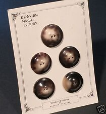 Tender Buttons for BARNEYS New York 5 Pc Antique Horn Buttons - English c. 1920