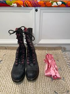 Dr. Martens Triumph Black High Boots with Pink Floral Interior in Size 11-EUC