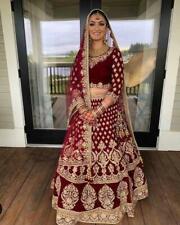 Fastival Maroon Lehenga Choli Indian Ethnic Wedding Wear Lengha Chunri Set Sari