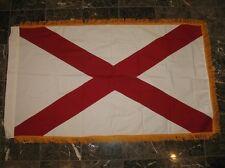 3x5 Embroidered Sewn Alabama Sleeve Gold Fringe 100% Cotton Flag 3'x5' Banner