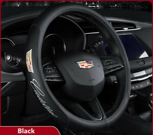 """15"""" Car Steering Wheel Cover Genuine Leather For Cadillac Black"""