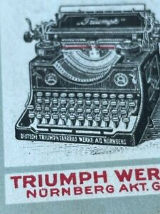POSTER STAMP VIGNETTE TRIUMPH BYCYCLE TYPEWRITER DOG  NÜRNBERG FROM 1913