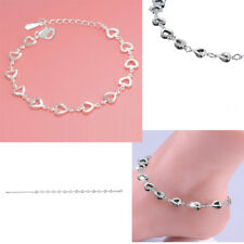 925 Solid Sterling Silver Bracelet  Heart Anklet Buckle Fancy Twisting Chain