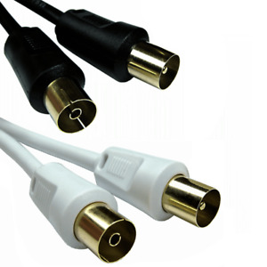 Coaxial TV Aerial Cable RF Extension Lead Digital Male to Female 1m 2m 3m 5m 10m
