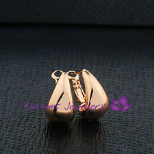 9K Rose GOLD GF Mirror Effect RAINDROP Huggie EARRINGS Womens ES609 Everyday USE