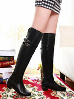 Ladies Womens Zip Buckles Straps Low Heel Over Knee Boots Shoes UK 1--12 A351