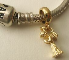 GENUINE SOLID 9K  9ct YELLOW GOLD CHARM BEAD with 3D PRAYING ANGEL CHARM DROP