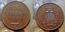 SAN MARINO SUPERB 10 CENTESIMI 1893 R COPPER COIN KM,#2 XF++/AU I° TYPE RARE