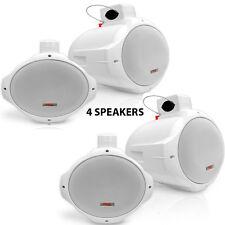 NEW Pyle PLMRW85 8'' 300 Watt Two-Way White Wake Board  Marine Speakers (QTY 4)
