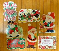 Vintage Christmas Diecut Cardboard Cutout Decorations Lot of 7 Eureka Amscan