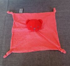 Doudou plat ours chat éponge tissu rouge rayé blanc Orchestra + cadeau offert