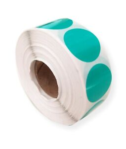1000 GLOSS GREEN 25MM ROUND SELF ADHESIVE BLANK LABELS, STICKERS, SECURITY, SEAL