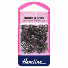 Black White Hot Cotton Covered Fur Hooks and Eyes Fasteners in 3 to 9 Sets