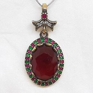 Deco 10.90ctw Ruby, Emerald & Diamond Cut Sapphire 14K Yellow Gold 925 Pendant