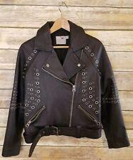 ASOS Black Leather Moto Jacket with Metal Studded Rivot Detail sz 4