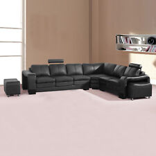 6 Seater Corner Black Bonded Leather 2x Movable Ottoman Sectional Sofa Majestic
