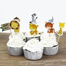 24pcs Safari Jungle Animal Cupcake Toppers Picks Birthday Party Decorating Favor