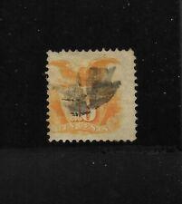 US Scott #116 used 10c yellow orange Shield & Eagle 1869 Pictorial issuel f/vf