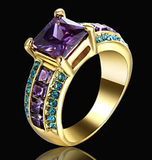 Princess Cut Amethyst Wedding Engagement Band Ring Gold Rhodium Plated Size 8