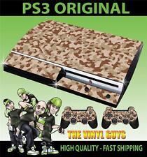 Playstation Ps3 Antiguo forma Camuflaje del desierto camuflaje del ejército de la etiqueta engomada de la piel y 2 Pad Skins