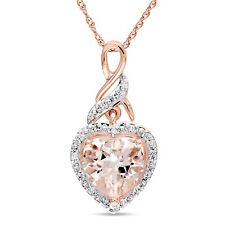 Amour 10k Rose Gold Morganite and Diamond Heart Necklace