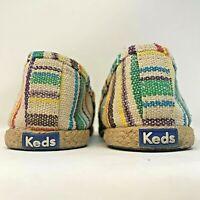 Keds Women's Sz 8.5 Canvas Slip-On Shoes Striped Espadrille Hippie Boho Colorful
