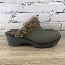 Crocs Cobbler Eva Faux Fur Lined Suede Green Clogs - Women's Size 8