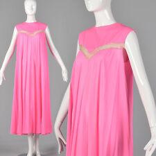 L 1960s Claire Sandra Lucie Ann Deadstock Pink Nightgown Sheer Stripe Nylon 60s