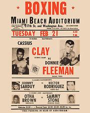 "Cassius Clay v Donnie Fleeman  -  8""x10"" Mini Fight Poster"