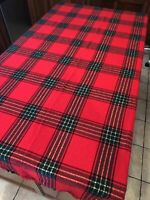 """Vintage Fringed Edges Red Plaid With Gold Holiday Tartan Tablecloth 59"""" x 80"""""""