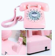 Pink Phone Rotary Girls 60's Teens Princes Home Office Womens Bed Room Bell Tone