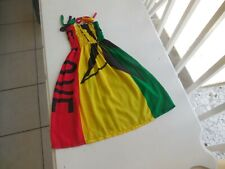 Dress Rasta Color Handmade Sun Top One Love Ages 6-8 ElasticTop 100/% Cotton