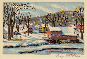 HARRY SHOKLER, 'WINTER REFLECTIONS', signed color serigraph, c. 1945