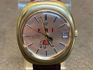 1970's Girard Perregaux 9444 Gold Plated GEORGIA BULLDOGS Quartz Watch Cal 352