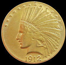 1912 GOLD UNITED STATES $10 DOLLAR INDIAN HEAD COIN PHILADELPHIA MINT AU