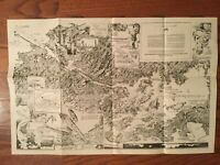 Antique 1925 Panama Canal Zone Map Charles Owens LA Times Reprint 1940s-1950s