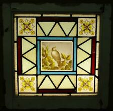 """VICTORIAN ENGLISH LEADED STAINED GLASS WINDOW Hand Painted Bird 18.5"""" x 18.5"""""""