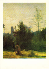 1982 Russian postcard CHÂTEAU DE PIERREFONDS by French painter Camille Corot