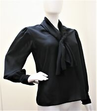 Chaus Vintage Blouse Long Sleeve Neck Tie Pullover Style Top Black 8