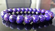 "Purple Gemstone bead bracelet for Men (Stretch) 10mm - 8.25"" inch Multicolor"
