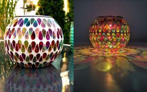 Mosaik Kugel Solarleuchte Solarkugel LED m.Farbwechsel Tischlampe 15 cm aus TV