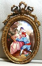 Antique French Hand Painted Miniature Portrait On Porcelain Ormolu Brass Frame