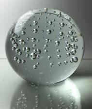 Crystal Clear Round Glass Ball Paperweight with Bubbles 2 ¾ inch in diameter