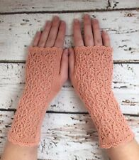 Stunning  100% Pure cashmere lace fingerless gloves. Col. Salmon Pink