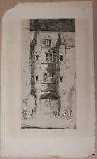 Belle Gravure Eau forte Originale Henry Wilfrid DEVILLE Cour Chapitre Rennes