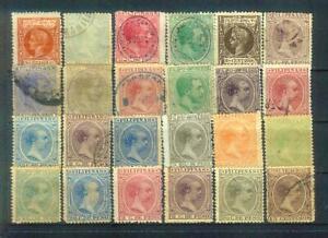 Lot alter Briefmarken von den spanischen Philippinen, bis 1898