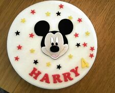 Edible Handmade Sugar Mickey Mouse Personalised Birthday Cake Topper Decoration