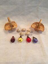2 Miniature Woven Baskets-5 Plastic Eggs -4 Miniature Birds